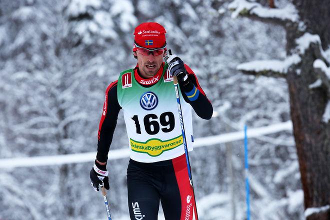 ETT HÄRLIGT BESKED! Johan Olsson är tillbaka i toppen och han vann direkt i Bruksvallsloppet! Foto/rights: KJELL-ERIK KRISTIANSEN/sweski.com