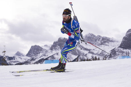 04.02.2016, Canmore, Canada (CAN):Simon Fourcade (FRA) -  IBU world cup biathlon, sprint men, Canmore (CAN). www.nordicfocus.com. © Manzoni/NordicFocus. Every downloaded picture is fee-liable.