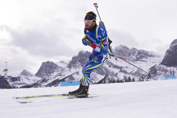 04.02.2016, Canmore, Canada (CAN):Simon Fourcade (FRA) - IBU world cup biathlon, sprint men, Canmore (CAN). www.nordicfocus.com. © Manzoni/NordicFocus. Every downloaded picture is fee-liable. NordicFocus