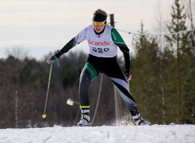 JOHANNA ANDERSSON från Falu IK var tvåa i D19-20 efter dalakollegan Moa Olsson från grannklubben Falun-Borlänge SK. Foto/rights: KJELL-ERIK KRISTIANSEN/sweski.com