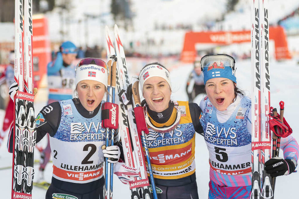 04.12.2016, Lillehammer, Norway (NOR):Ingvild Flugstad Oestberg (NOR), Heidi Weng (NOR), Krista Parmakoski (FIN), (l-r) - FIS world cup cross-country, pursuit women, Lillehammer (NOR). www.nordicfocus.com. © Modica/NordicFocus. Every downloaded picture
