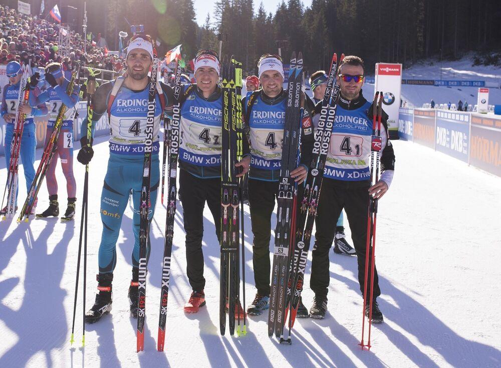 11.12.2016, Pokljuka, Slovenia (SLO):Martin Fourcade (FRA), Quentin Fillon Maillet (FRA), Simon Desthieux (FRA), Jean Guillaume Beatrix (FRA), (l-r) -  IBU world cup biathlon, relay men, Pokljuka (SLO). www.nordicfocus.com. © Manzoni/NordicFocus. Ever