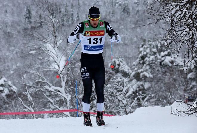 FREDRIK BYSTRÖM från Lager 157 Ski Team och Orsa SK kunde precis spurta ner Ludwig Tärning och Andreas Svensson i Moraloppet. Foto/rights: KJELL-ERIK KRISTIANSEN/KEK-stock