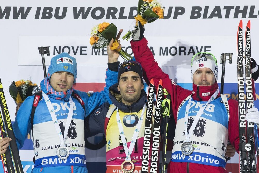 15.12.2016, Nove Mesto, Czech Republic (CZE): Anton Shipulin (RUS), Martin Fourcade (FRA), Emil Hegle Svendsen (NOR), (l-r) - IBU world cup biathlon, sprint men, Nove Mesto (CZE). www.nordicfocus.com. © Manzoni/NordicFocus. Every downloaded picture is