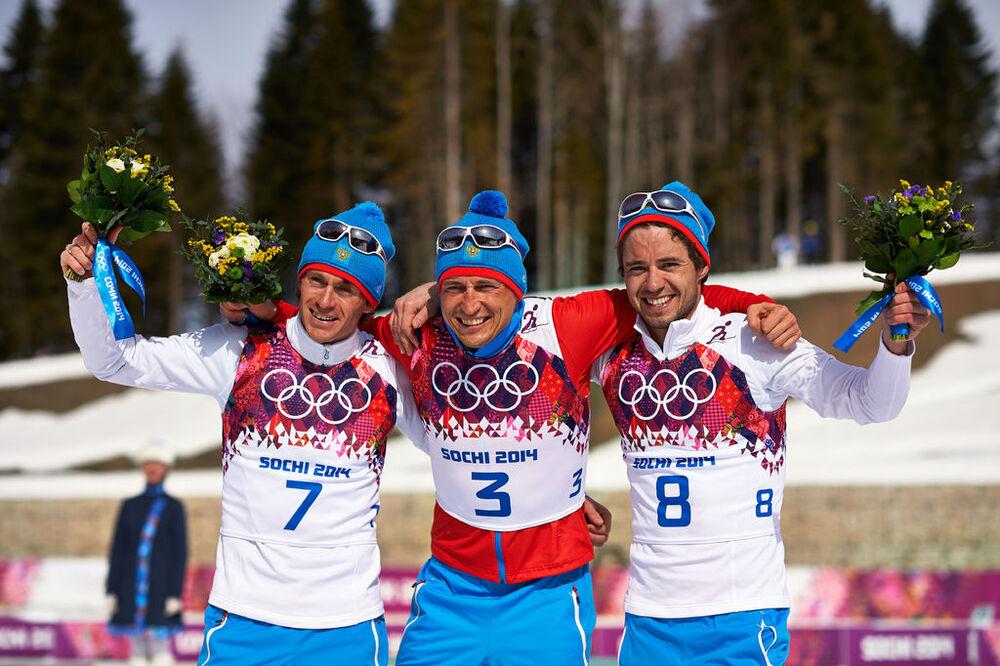 23.02.2014, Sochi, Russia (RUS): Maxim Vylegzhanin (RUS), Alexander Legkov (RUS), Ilia Chernousov (RUS), (l-r)- XXII. Olympic Winter Games Sochi 2014, cross-country, 50km men, Sochi (RUS). www.nordicfocus.com. © NordicFocus. Every downloaded picture is