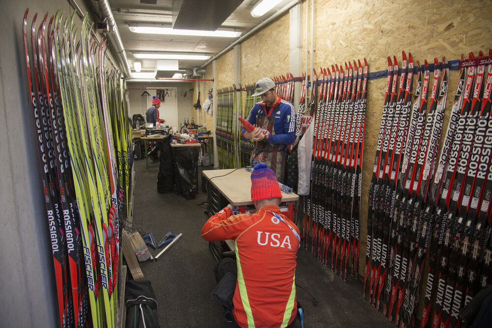 09.12.2015, Hochfilzen, Austria (AUT):Event Feature: US wax cabin in the new biathlon facilities -  IBU world cup biathlon, training, Hochfilzen (AUT). www.nordicfocus.com. © Manzoni/NordicFocus. Every downloaded picture is fee-liable.