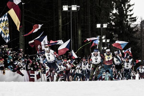 18.12.2016, Nove Mesto, Czech Republic (CZE): Johannes Thingnes Boe (NOR), Erik Lesser (GER), Martin Fourcade (FRA), (l-r) - IBU world cup biathlon, mass men, Nove Mesto (CZE). www.nordicfocus.com. © Manzoni/NordicFocus. Every downloaded picture is fee-l NordicFocus