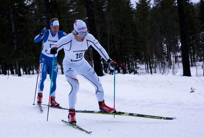 LOPPETS TVÅA Viktor Brännmark, Piteå Elit (18) har åkt ifatt Erik Silfver, IFK Umeå (17) som blev fyra, men tog hem vandringspriset. Foto: ARRANGÖREN