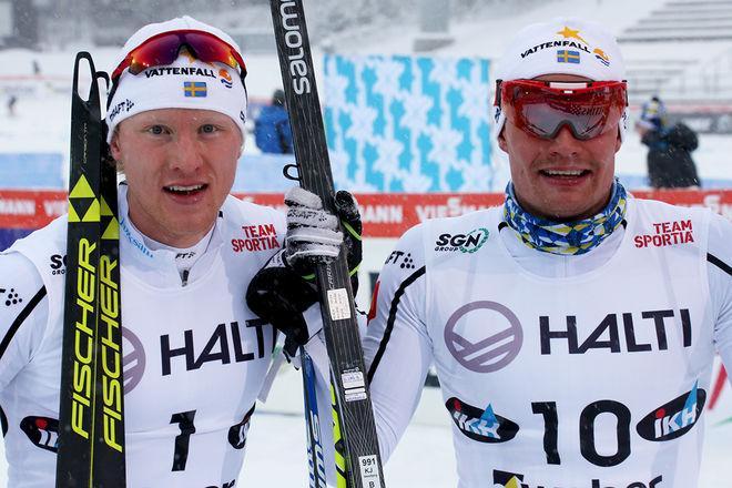 OSKAR SVENSSON (vänster) och Karl-Johan Westberg säkrade en tung, svensk dubbel i sprinttävlingen i Skandinaviska cupen i Lahtis under lördagen. Foto/rights: KJELL-ERIK KRISTIANSEN/sweski.com