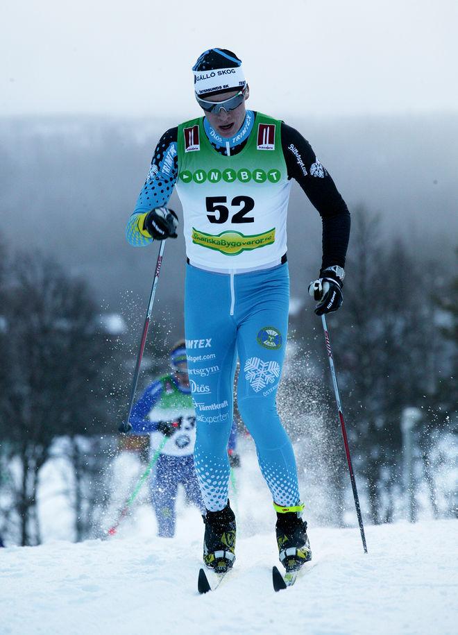 NILS PERSSON från ÖSK vann Bruksvallarna Nordic Ski Marathon sedan han spurtslagit Lars Nelson och Anders Södergren. Foto/rights: KJELL-ERIK KRISTIANSEN/sweski.com