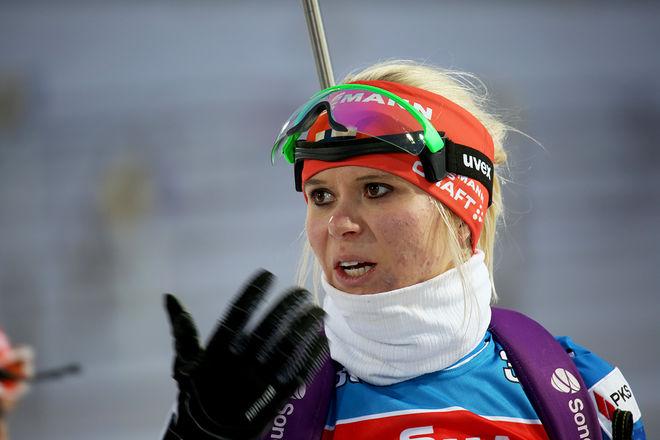 MARI LAUKKANEN har varit med i toppen i många år, men först idag i Holmenkollen kom fullträffen i damernas världscup i skidskytte. Foto/rights: KJELL-ERIK KRISTIANSEN/sweski.com