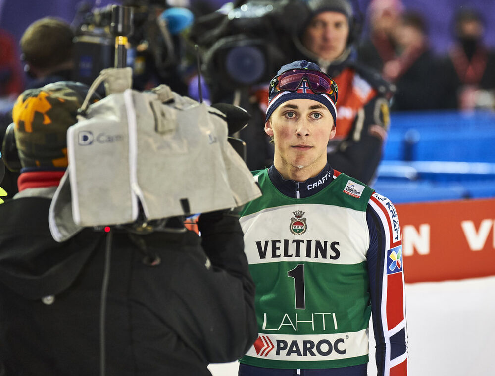 19.02.2016, Lahti, Finland (FIN):Jarl Magnus Riiber (NOR) - FIS world cup nordic combined, individual gundersen HS130/10km, Lahti (FIN). www.nordicfocus.com. © Felgenhauer/NordicFocus. Every downloaded picture is fee-liable.