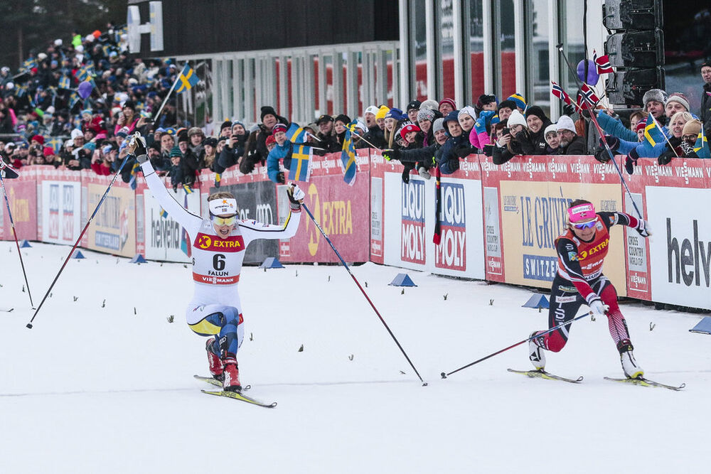 28.01.2017, Falun Sweden (SWE):Stina Nilsson (SWE), Maiken Caspersen Falla (NOR), (l-r)  - FIS world cup cross-country, individual sprint, Falun (SWE). www.nordicfocus.com. © Modica/NordicFocus. Every downloaded picture is fee-liable.