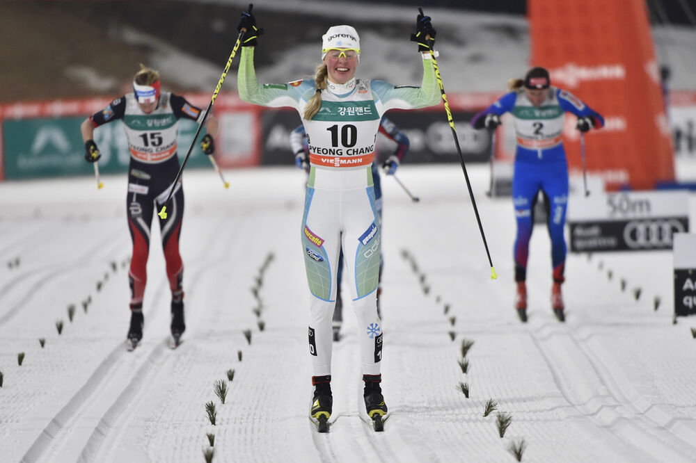 03.02.2017, Pyeong Chang, Korea (KOR):Anamarija Lampic (SLO), Silje Oeyre Slind (NOR), Justyna Kowalczyk (POL) - FIS world cup cross-country, individual sprint, Pyeong Chang (KOR). www.nordicfocus.com. © Thibaut/NordicFocus. Every downloaded picture is