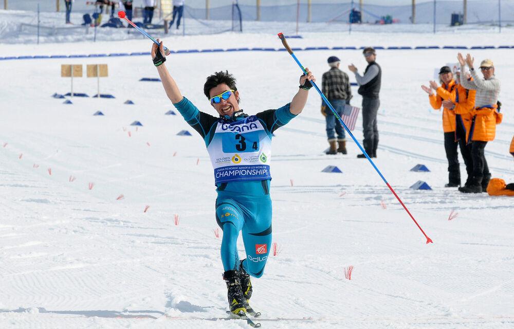 Arnaud Chautemps crosses the finish line to earn bronze for France - 2017 USANA FIS Nordic Junior World Championships - men