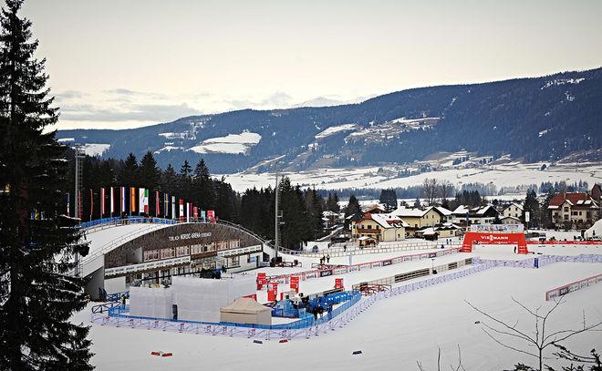 NORDIC ARENA i Toblach passeras i helgens Toblach-Cortina, nästa etapp i Visma Ski Classics. Det är också målet för söndagens fristilstävling. Foto: NORDIC FOCUS