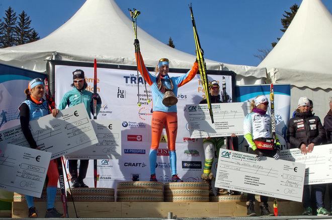 MARIA GRÄFNINGS vann i helgen Engadin Frauenlauf med nästan 1.000 damer på start i Engadin i Schweiz. Här från segern i La Transjurasienne tidigare i vinter. ARKIVFOTO