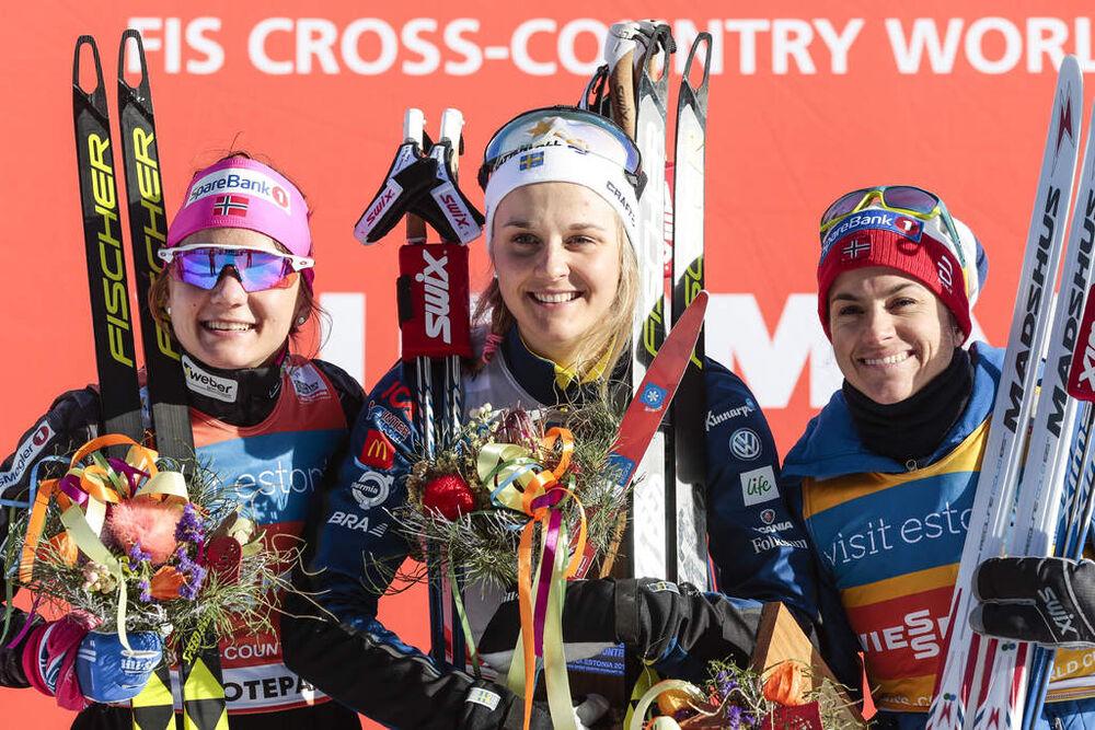 18.02.2017, Otepaeae, Estonia (EST):Maiken Caspersen Falla (NOR), Stina Nilsson (SWE), Heidi Weng (NOR), (l-r) - FIS world cup cross-country, individual sprint, Otepaeae (EST). www.nordicfocus.com. © Modica/NordicFocus. Every downloaded picture is fee-l