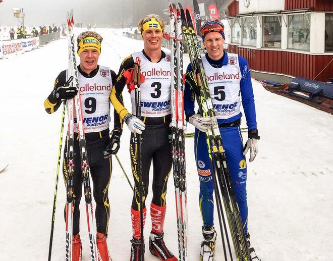 ERIK WICKSTRÖM, Ulricehamns IF (mitten) vann Borås Ski Maraton före Erik Wilhelmsson från Lidköping (höger) och klubbkompisen i Ulricehamn Martin Gotting (vänster).