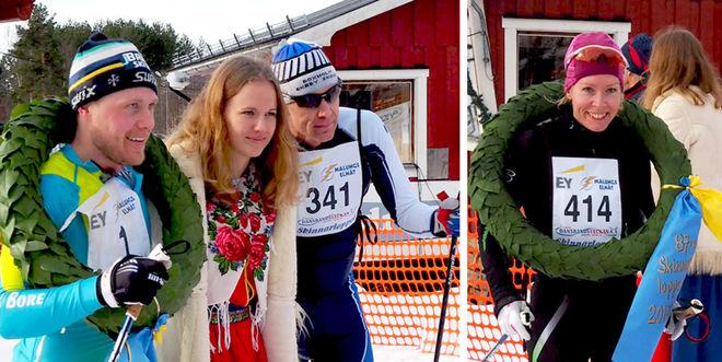 BILL IMPOLA (tv) med kranskullan Ida och tvåan Peo Svahn i Skinnarloppet. Till höger damsegraren Ulrica Persson från Sunne. Foto: ARRANGÖREN