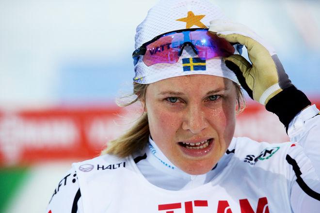 HANNA FALK var stark vid landslagets sprinttävling i Idre Fjäll under måndagen. Hon vann säkert före Maja Dahlqvist och Linn Sömskar. Foto/rights: KJELL-ERIK KRISTANSEN/KEK-photo