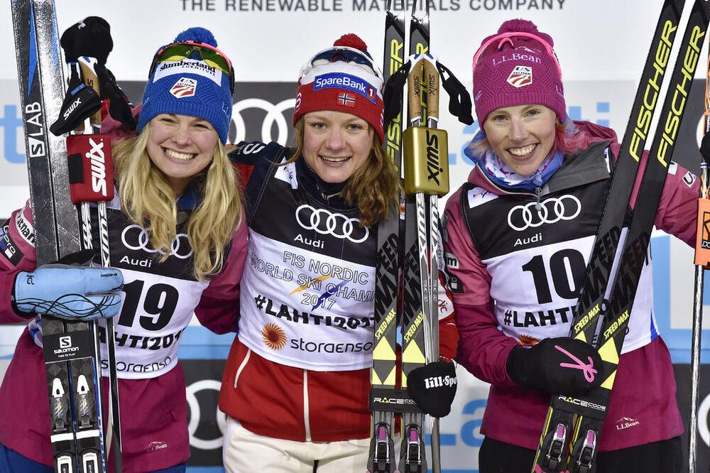 23.02.2017, Lahti, Finland (FIN):Jessica Diggins (USA), Maiken Caspersen Falla (NOR), Kikkan Randall (USA), (l-r) - FIS nordic world ski championships, cross-country, individual sprint, Lahti (FIN). www.nordicfocus.com. © Thibaut/NordicFocus. Every down