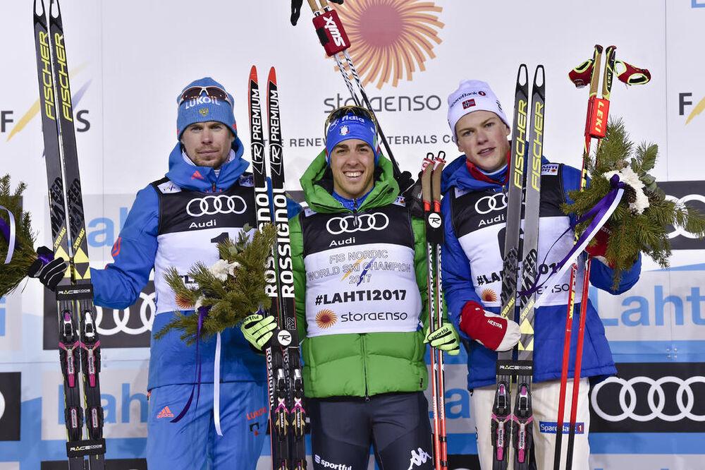 23.02.2017, Lahti, Finland (FIN):Sergey Ustiugov (RUS), Federico Pellegrino (ITA), Johannes Hoesflot Klaebo (NOR), (l-r) - FIS nordic world ski championships, cross-country, individual sprint, Lahti (FIN). www.nordicfocus.com. © Thibaut/NordicFocus. Eve