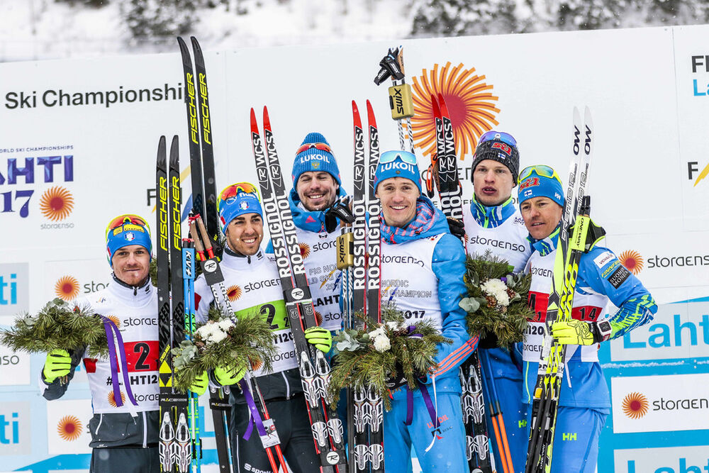 26.02.2017, Lahti, Finland (FIN):Dietmar Noeckler (ITA), Federico Pellegrino (ITA), Sergey Ustiugov (RUS), Nikita Kriukov (RUS), Iivo Niskanen (FIN), Sami Jauhojaervi (FIN), (l-r), (l-r) - FIS nordic world ski championships, cross-country, team sprint, L