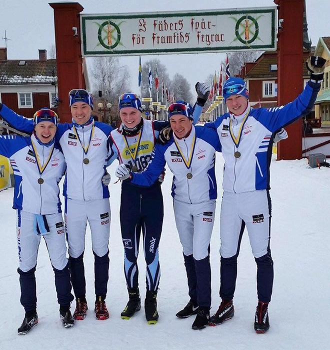 DESSA KILLARNA var snabbast i Stafettvasan 2017, fr v: Markus Johansson, Adam Gillman, Markus Lennartsson, Oscar Johansson och Gabriel Strid. Foto: RÅLAND STRID