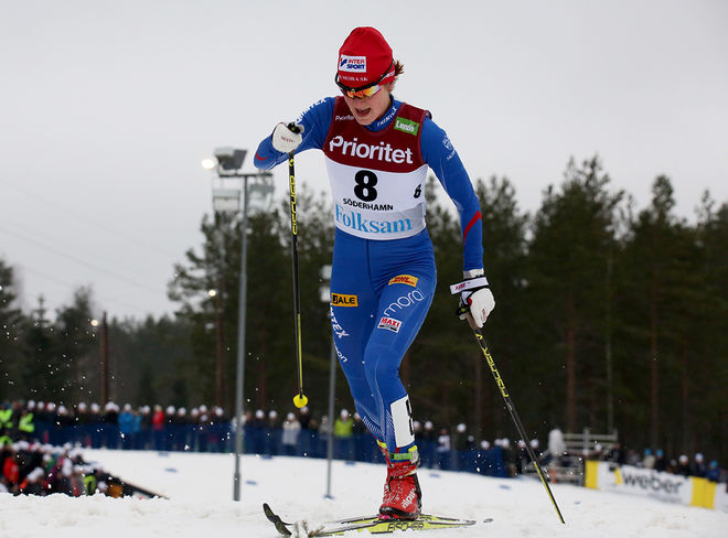 HELENE SÖDERLUND har problem med ryggen och kan för tillfället inte tävla. Här från skid-SM i Söderhamn. Foto/rights: MARCELA HAVLOVA/sweski.com