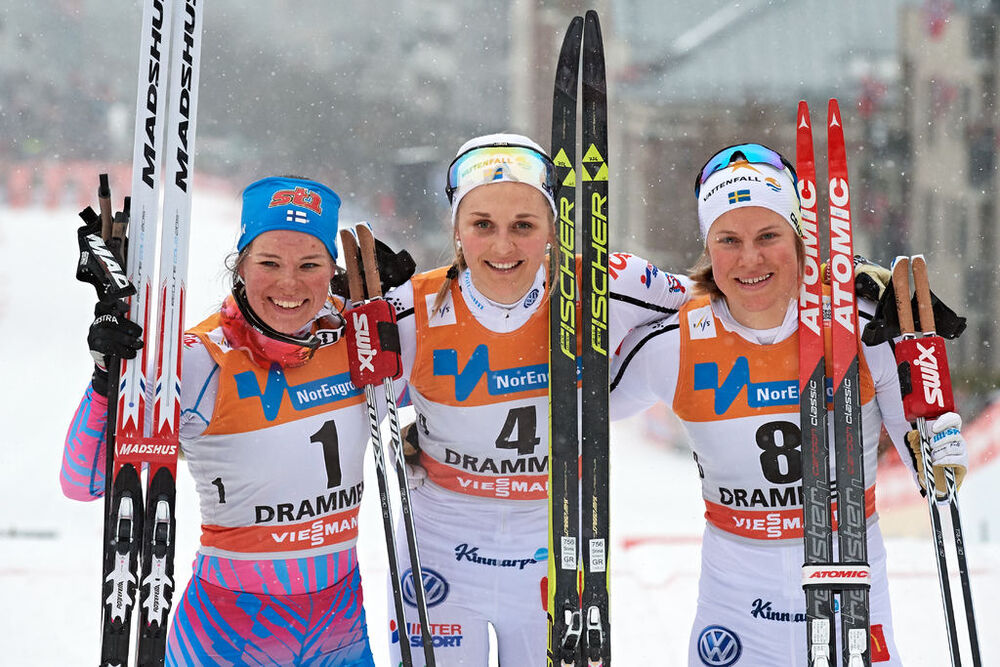 08.03.2017, Drammen, Norway (NOR):Krista Parmakoski (FIN), Stina Nilsson (SWE), Hanna Falk (SWE), (l-r) - FIS world cup cross-country, individual sprint, Drammen (NOR). www.nordicfocus.com. © Rauschendorfer/NordicFocus. Every downloaded picture is fee-l