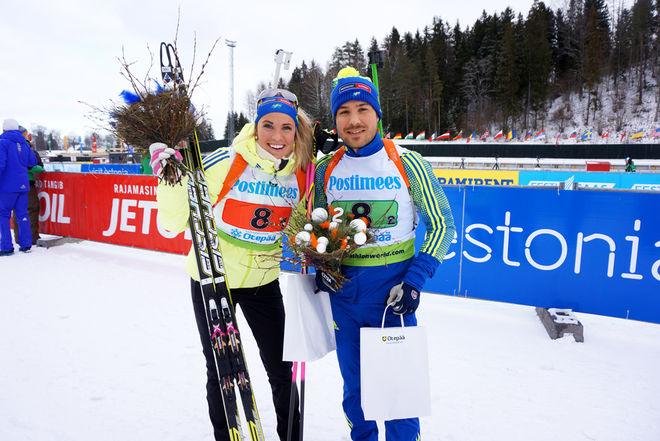 INGELA ANDERSSON (tv) och Tobias Arwidson var tvåa i single mixed-stafetten i IBU-cupen i Otepää i Estland. Foto: SKIDSKYTTEFÖRBUNDET