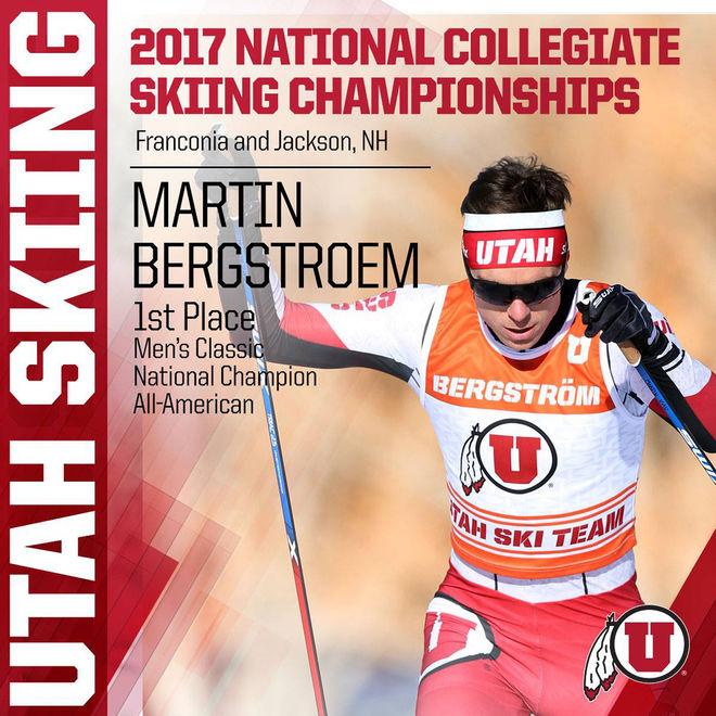 MARTIN BERGSTRÖM har blivit stjärna på universitetet i Utah sedan han vann i NCAA-finalen. Han har haft en mycket bra säsong i vinter sedan han startade om på sin karriär.