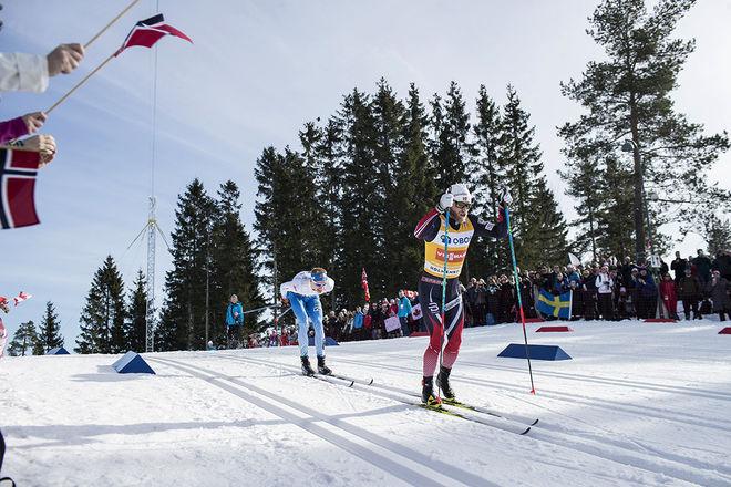 HOLMENKOLLENs femmil blev en episk duell mellan Martin Johnsrud Sundby och Iivo Niskanen och den här gången fick norrmannen revansch för förlusten på 15 km i VM i Lahtis. Foto: NORDIC FOCUS