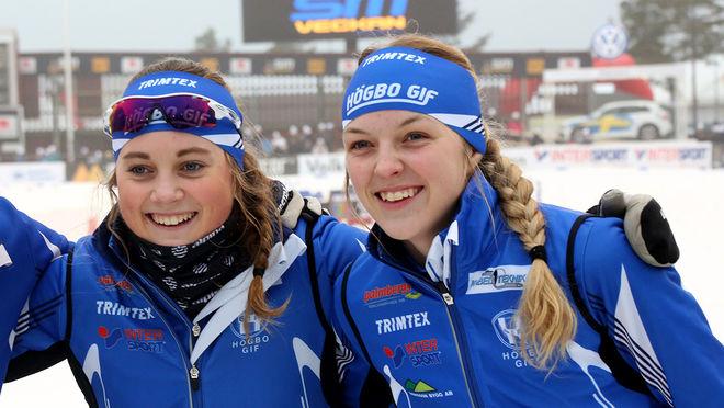 IDA PALMBERG (tv) och Louise Lundström vann tillsammans med Ida Persson JSM-stafetten för Högbo GIF. Foto/rights: MARCELA HAVLOVA/sweski.com