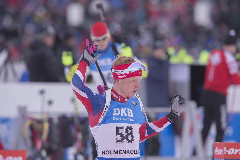 05.03.2016, Oslo, Norway (NOR):Johannes Thingnes Boe (NOR) - IBU world championships biathlon, sprint men, Oslo (NOR). www.nordicfocus.com. © NordicFocus. Every downloaded picture is fee-liable.