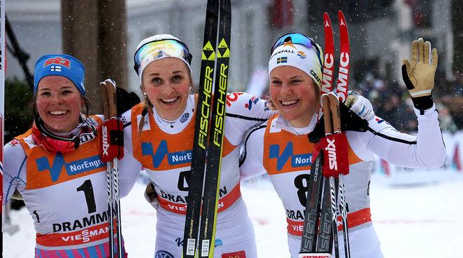 STINA NILSSON (mitten) vann den senaste världscupsprinten i Drammen förra veckan. Hanna Falk (höger) var trea. Tvåa var Krista Pärmäkoski från Finland. Foto/rights: ÅGE KRISTIANSEN/sweski.com