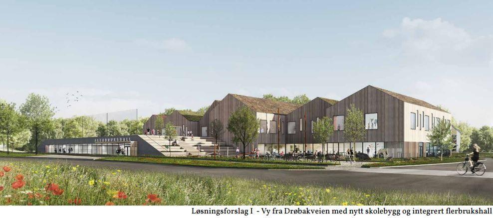 Fasade Åsgård skole fra Drøbaksveien White ark