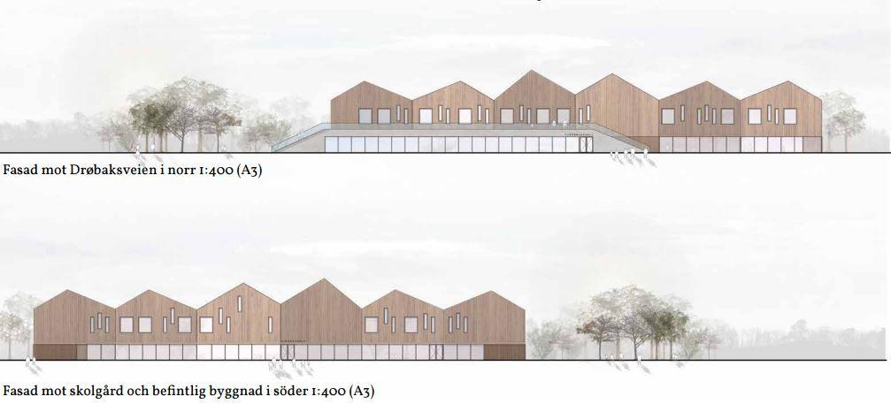 Fasade Åsgård skole fra nord og sør White ark
