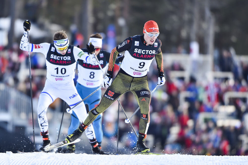 11.03.2017, Oslo, Norway (NOR):Eric Frenzel (GER), Eero Hirvonen (FIN) - FIS world cup nordic combined, individual gundersen HS134/10km, Oslo (NOR). www.nordicfocus.com. © Thibaut/NordicFocus. Every downloaded picture is fee-liable.