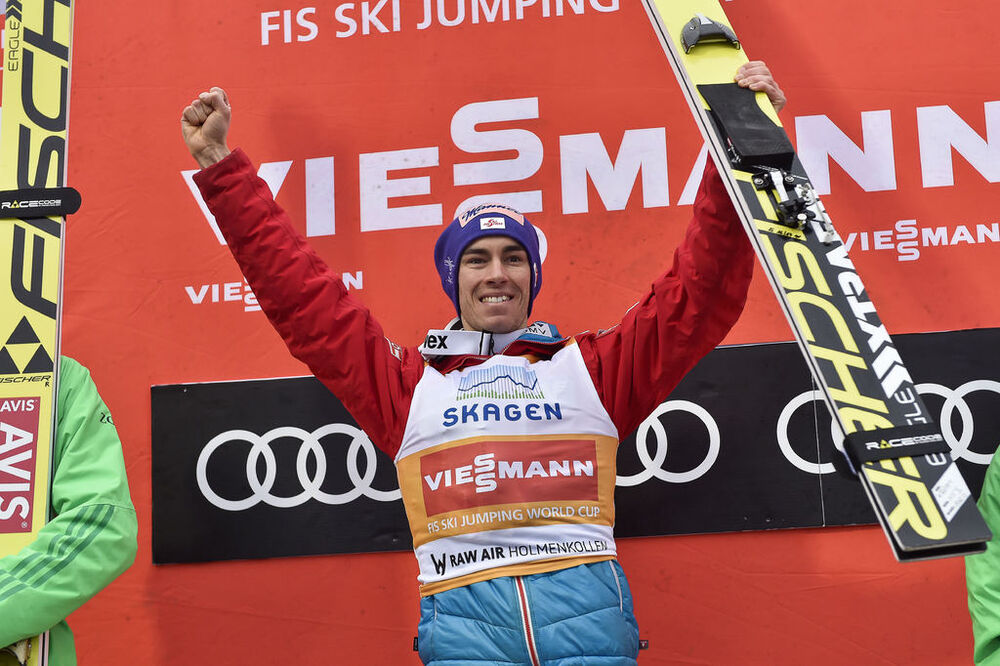 12.03.2017, Oslo, Norway (NOR):Stefan Kraft (AUT) - FIS world cup ski jumping, individual HS134, Oslo (NOR). www.nordicfocus.com. © Thibaut/NordicFocus. Every downloaded picture is fee-liable.