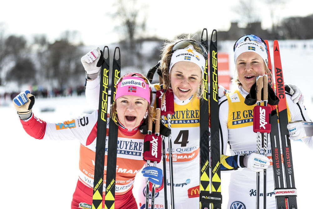 17.03.2017, Quebec, Canada (CAN):Stina Nilsson (SWE), Maiken Caspersen Falla (NOR), Hanna Falk (SWE), (l-r)  - FIS world cup cross-country, individual sprint, Quebec (CAN). www.nordicfocus.com. © Modica/NordicFocus. Every downloaded picture is fee-liabl
