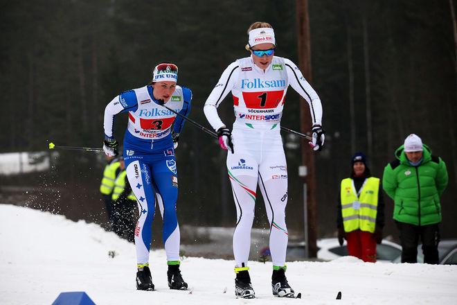 JENNIE ÖBERG (th) och Linn Sömskar gick nästan inte att skilja i sprintkvalet i Intersport cup-finalen i Skellefteå. En hundradel av en sekund skilde dom båda! Foto/rights: MARCELA HAVLOVA/sweski.com