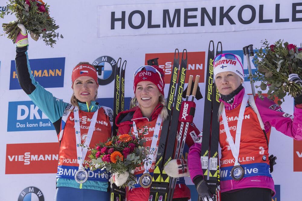 19.03.2017, Oslo, Norway (NOR):Gabriela Koukalova (CZE), Tiril Eckhoff (NOR), Kaisa Makarainen (FIN), (l-r) -  IBU world cup biathlon, mass women, Oslo (NOR). www.nordicfocus.com. © Manzoni/NordicFocus. Every downloaded picture is fee-liable.