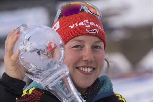 18.03.2017, Oslo, Norway (NOR):Laura Dahlmeier (GER) - IBU world cup biathlon, cups, Oslo (NOR). www.nordicfocus.com. © Manzoni/NordicFocus. Every downloaded picture is fee-liable. NordicFocus