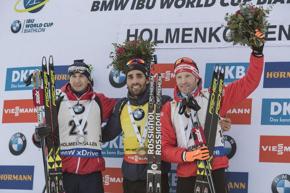 19.03.2017, Oslo, Norway (NOR):Andrejs Rastorgujevs (LAT), Martin Fourcade (FRA), Simon Eder (AUT), (l-r) -  IBU world cup biathlon, mass men, Oslo (NOR). www.nordicfocus.com. © Manzoni/NordicFocus. Every downloaded picture is fee-liable.