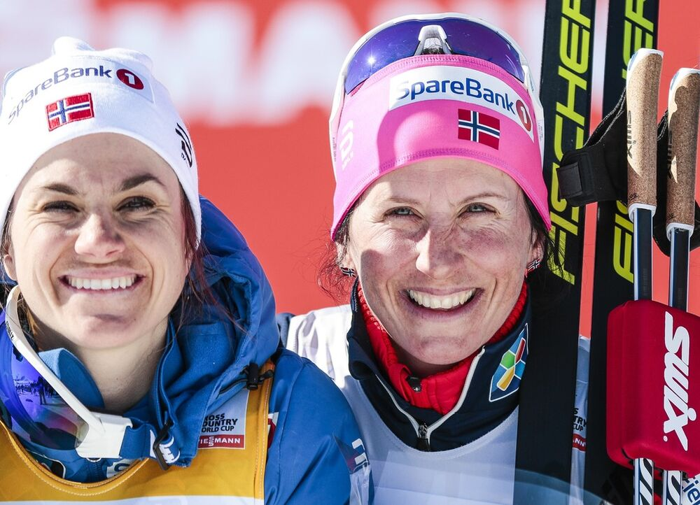 18.03.2017, Quebec, Canada (CAN):Heidi Weng (NOR), Marit Bjoergen (NOR), Krista Parmakoski (FIN), (l-r)  - FIS world cup cross-country, mass women, Quebec (CAN). www.nordicfocus.com. © Modica/NordicFocus. Every downloaded picture is fee-liable.
