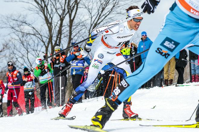 MARCUS HELLNER var snabbast av alla i den avslutande jaktstarten i världscupen i Quebec. Foto: NORDIC FOCUS