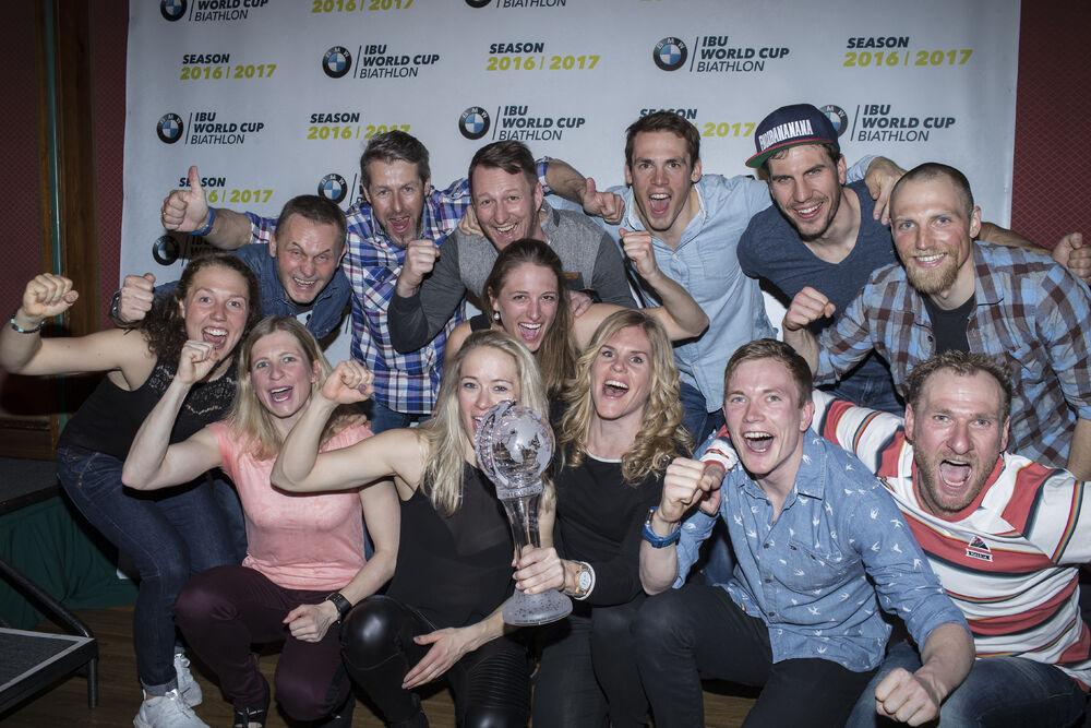 19.03.2017, Oslo, Norway (NOR):Laura Dahlmeier (GER), Hanna Oeberg of Sweden, Mark Kirchner (GER) coach Team Germany, Franziska Hildebrand (GER), Maren Hammerschmidt (GER), Vanessa Hinz (GER), Simon Schempp (GER), Nadine Horchler (GER), Benedikt Doll (GE