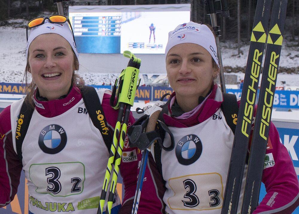 11.12.2016, Pokljuka, Slovenia (SLO):Anais Chevalier (FRA), Marie Dorin Habert (FRA), Justine Braisaz (FRA), Celia Aymonier (FRA), (l-r) -  IBU world cup biathlon, relay women, Pokljuka (SLO). www.nordicfocus.com. © Manzoni/NordicFocus. Every downloaded